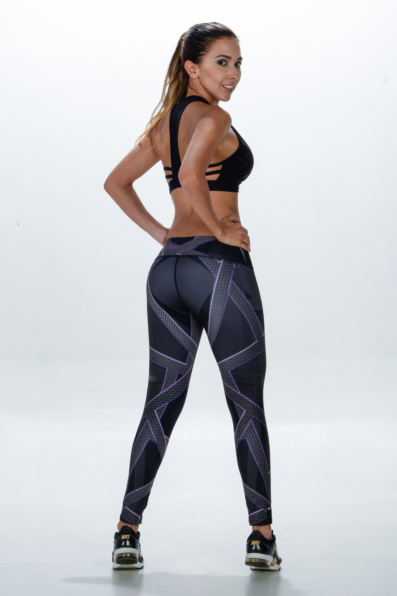 Back Side,  Grey fashion leggings with a cool carbon fibre look and purple touches - Bestyfit