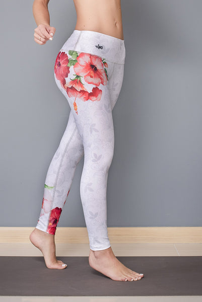 white and a beautiful flower leggings - Bestyfit