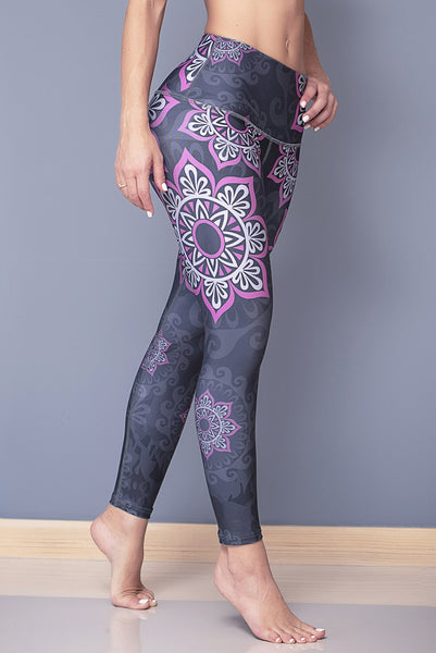 Star Mandala in pink and grey leggings -Betsyfit