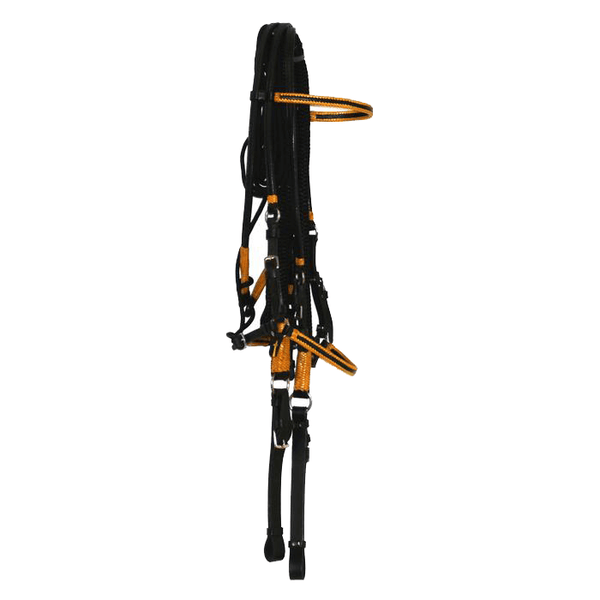 BLACK BRIDLE WITH YELLOW ACCENTS, 5/8 DB NYLON REIN WITH LEATHER ENDS