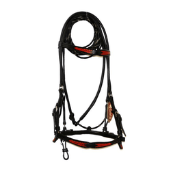 BLACK LEATHER BRIDLE WITH BUCK-STITCHED RED ACCENTS