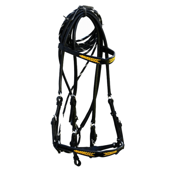 BLACK LEATHER BRIDLE WITH BUCKSTITCH YELLOW ACCENTS