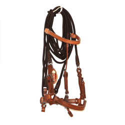 BROWN LEATHER AND NYLON TRAINING BRIDLE