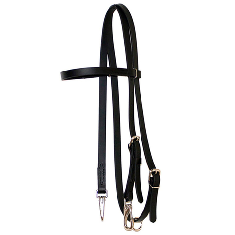 Black Biothane Headstall with S.S. Clips