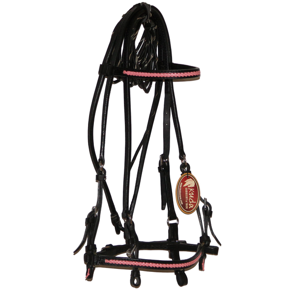 Black Bridle with Pink Accents