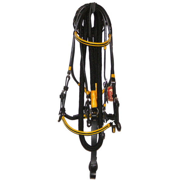 Black Bridle with yellow accents and leather ends reins