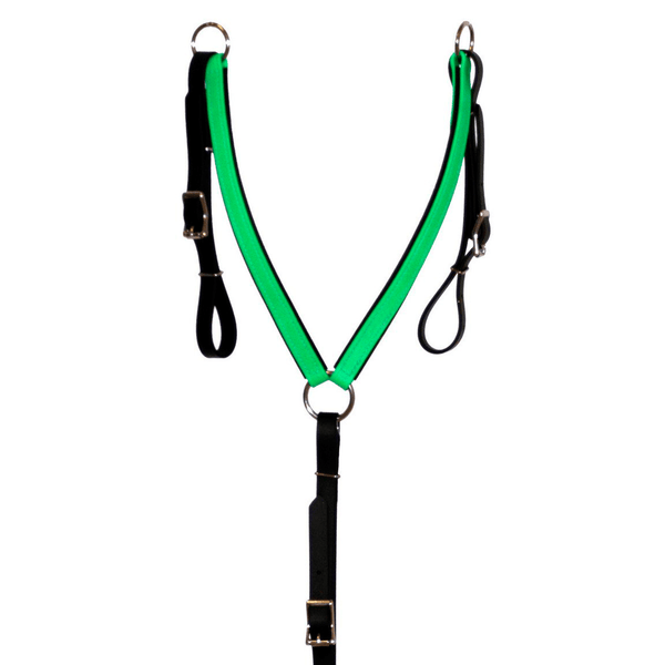 Black and Green Biothane Breast Collar