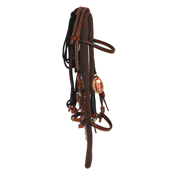 CHESTNUT LEATHER BRIDLE SET, 3/4 DB NYLON REIN WITH S.S SNAPS