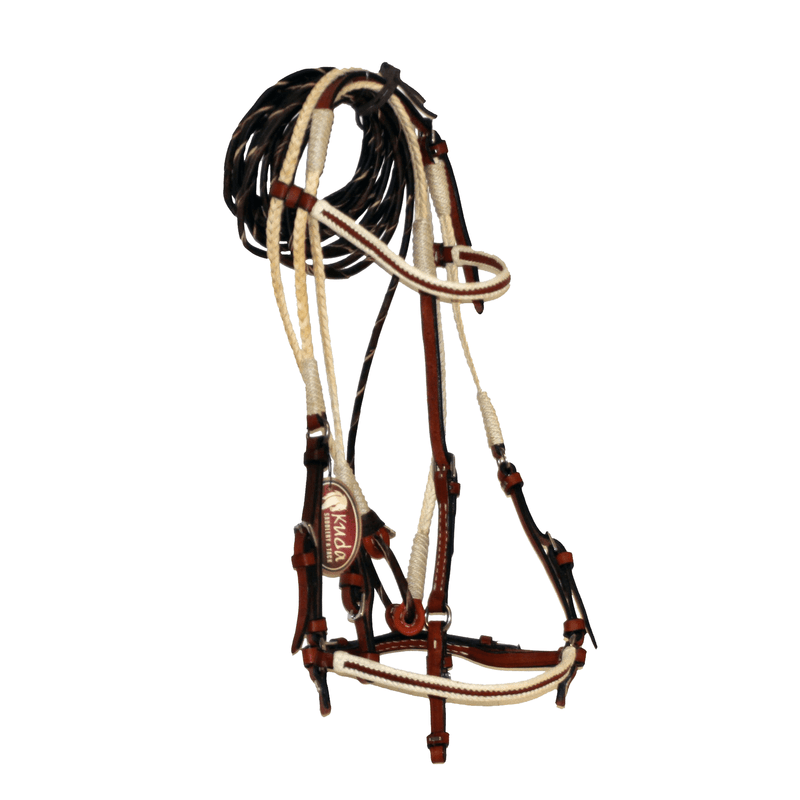 CHESTNUT LEATHER BRIDLE, WITH BRAIDED RAWHIDE AND WHITE ACCENT