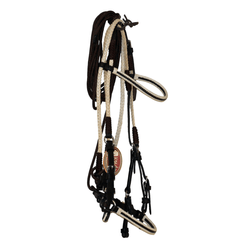 CHOCOLATE LEATHER BRIDLE WITH BRAIDED RAWHIDE AND WHITE ACCENTS
