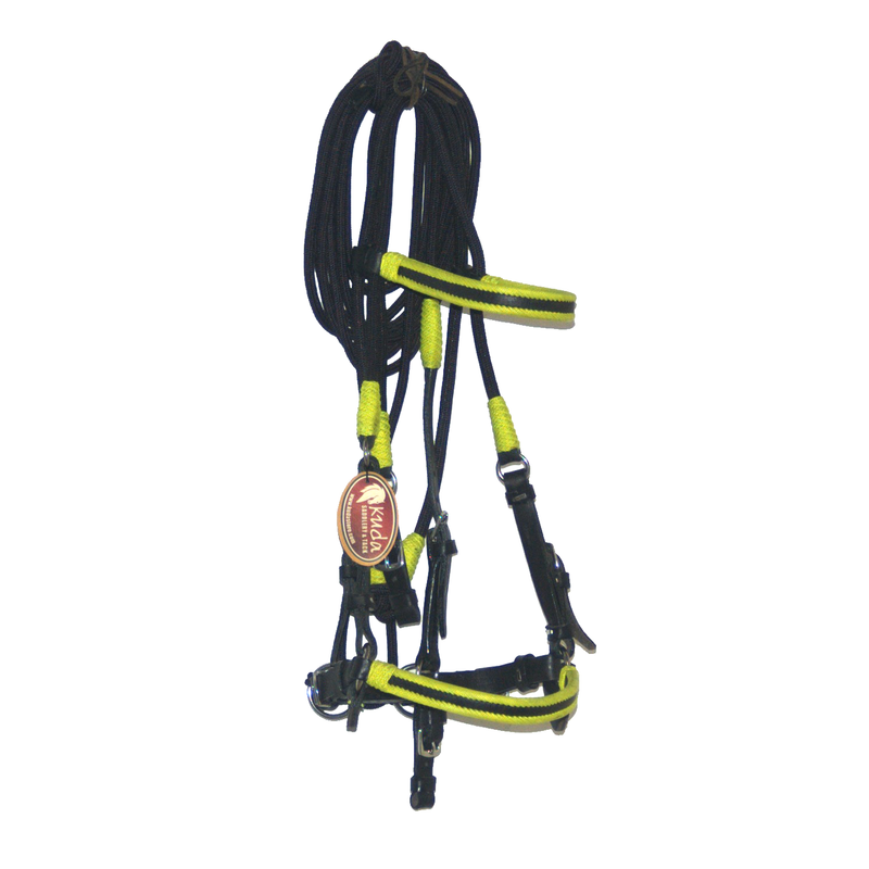 Black Leather/Nylon Bridle with Lime Green Accents