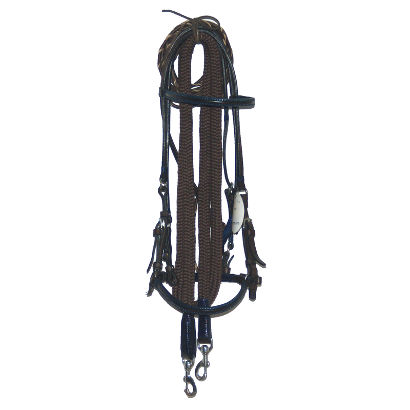 Brown Leather Bridle with Royal Blue Accents