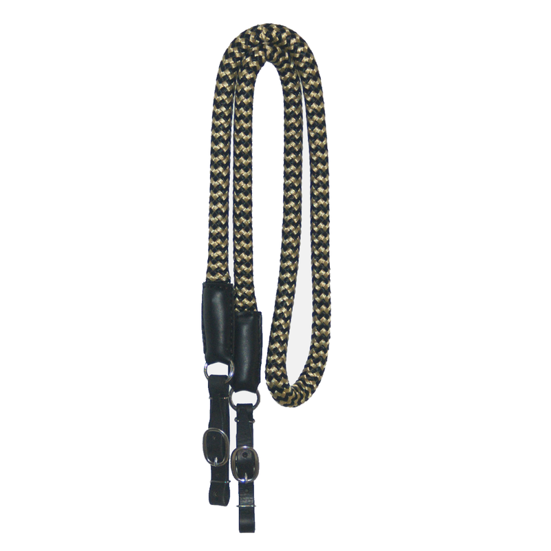 "Black and Gold 3/4"" DB nylon Reins with Leather Ends"