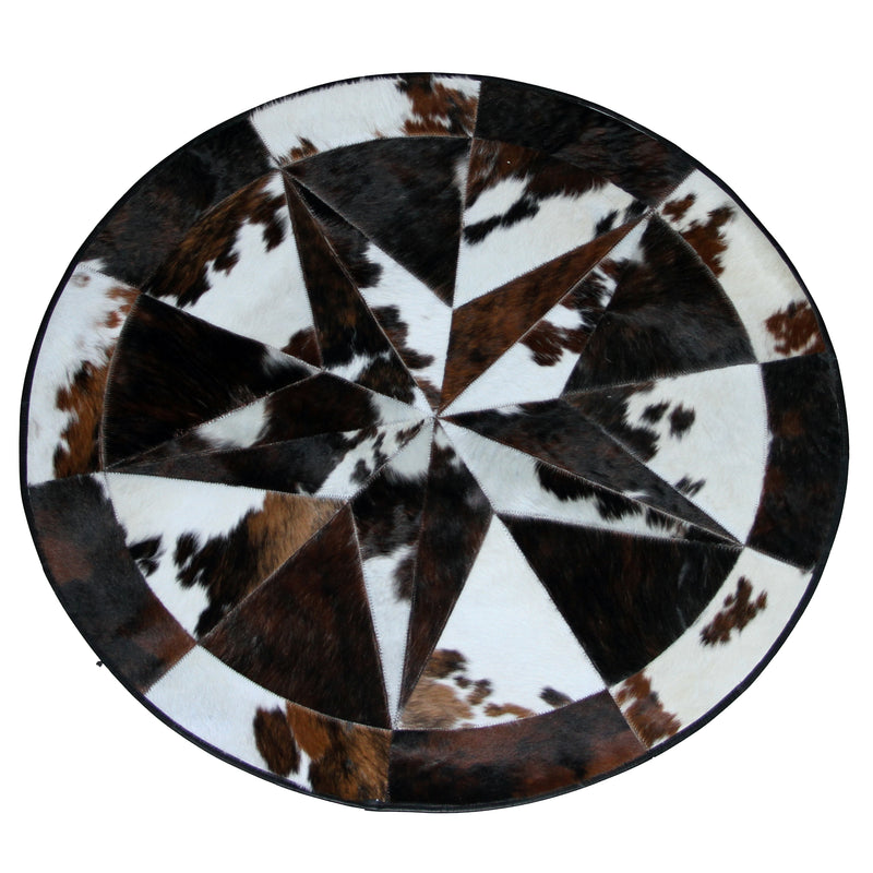Round Cowhide Rug with Star
