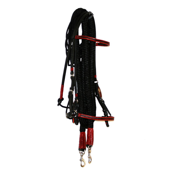 Black Bridle Set with Red Accents, S.S Snaps