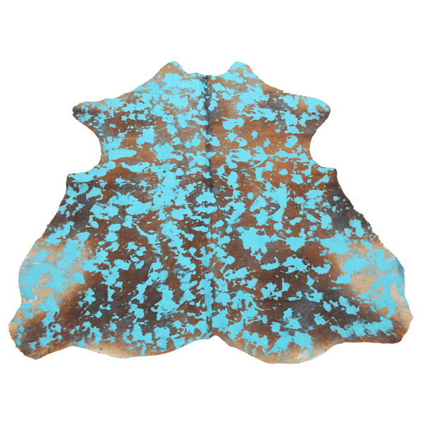 Turquoise Acid Wash on Brown Cowhide Rug