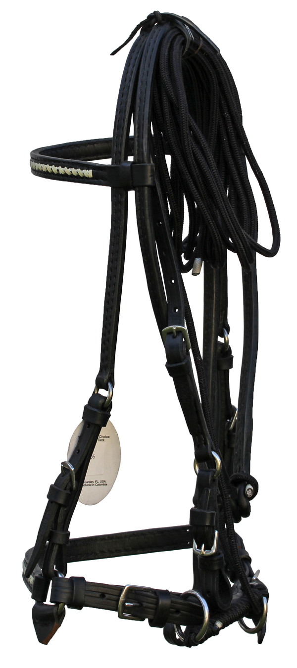 Black Bridle Set with White Accent, Nylon Rein with Leather Ends