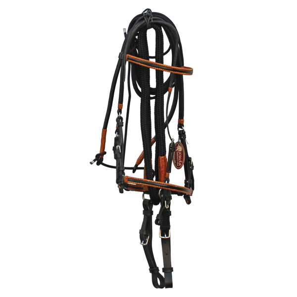 Black Bridle with Orange Accents and Leather End