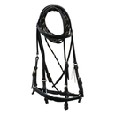 Black Leather Bridle with Buckstitch Blue Accents