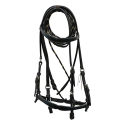 Black Leather Bridle with Buckstitch Hunter Green Accents