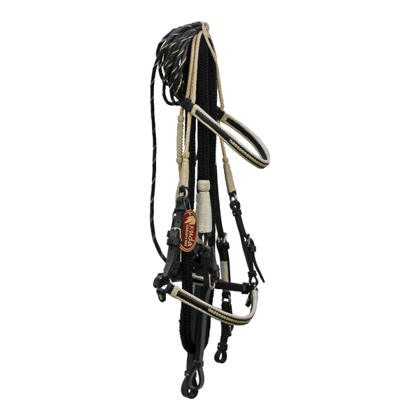 Black Bridle Set with White Accent and Leather Ends
