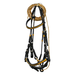 Black Leather Bridle with Yellow Accents