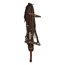 Brown Leather Bridle with White Accents, Nylon Pisador and Leather End Reins