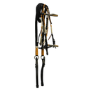 Black Leather Bridle with Yellow and White Accents
