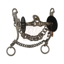 """C"" Type Shank Bit, 3-Piece Twisted Snaffle Mouthpiece and Small Copper Roller"