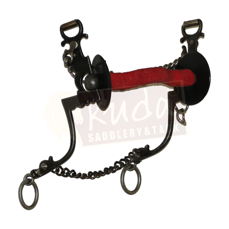 "Black Steel ""Chair Leg"" Shank Bit, Flat Bar with Tongue Relief and Red Vet Wrap"