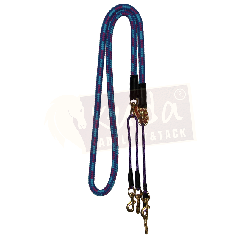 "Blue and Purple 3/4"" Cotton Pulley Reins"