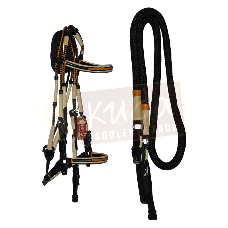 Premium Black Bridle with Honey and White Accents