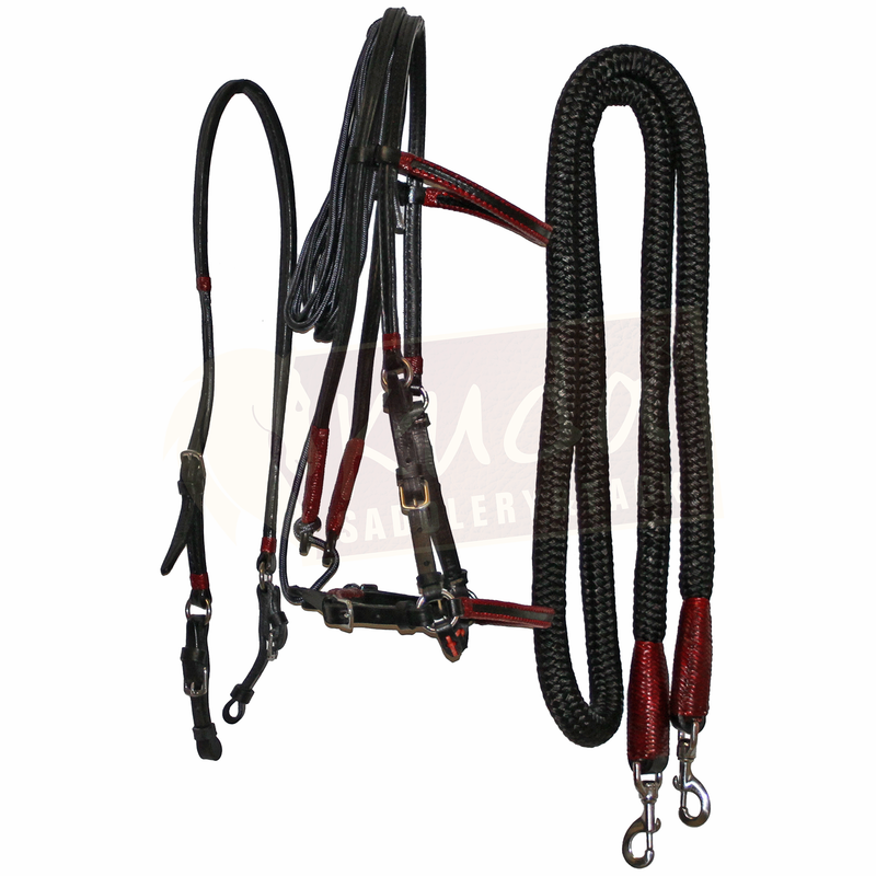 Black Leather Bridle Set with Garnet Accents