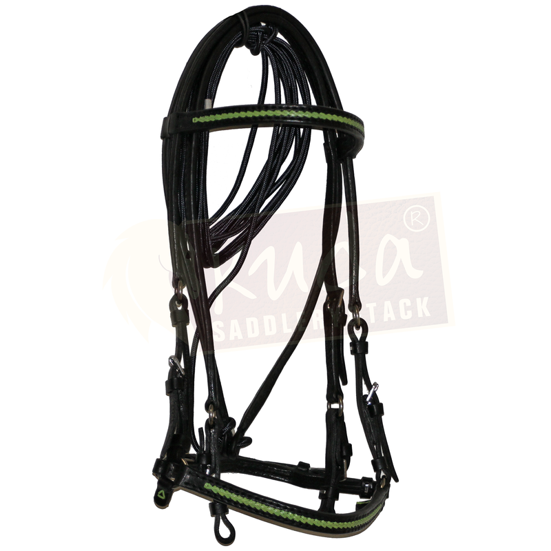 Black Leather Bridle with Green Accents