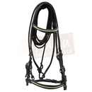 Black Leather Bridle with White Accents