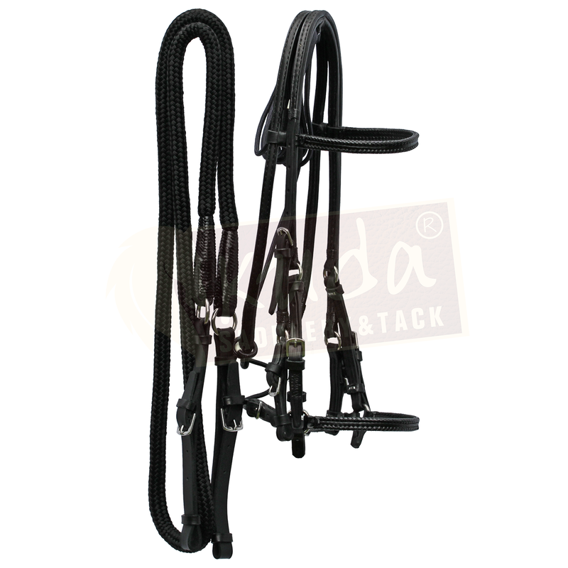 Black Bridle with Leather End Reins