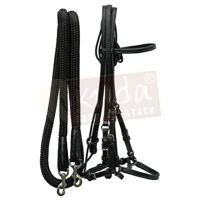 Black Bridle with S.S. Snaps Reins