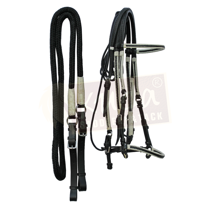 Black Leather Bridle Set with White Accents, and Leather End Reins