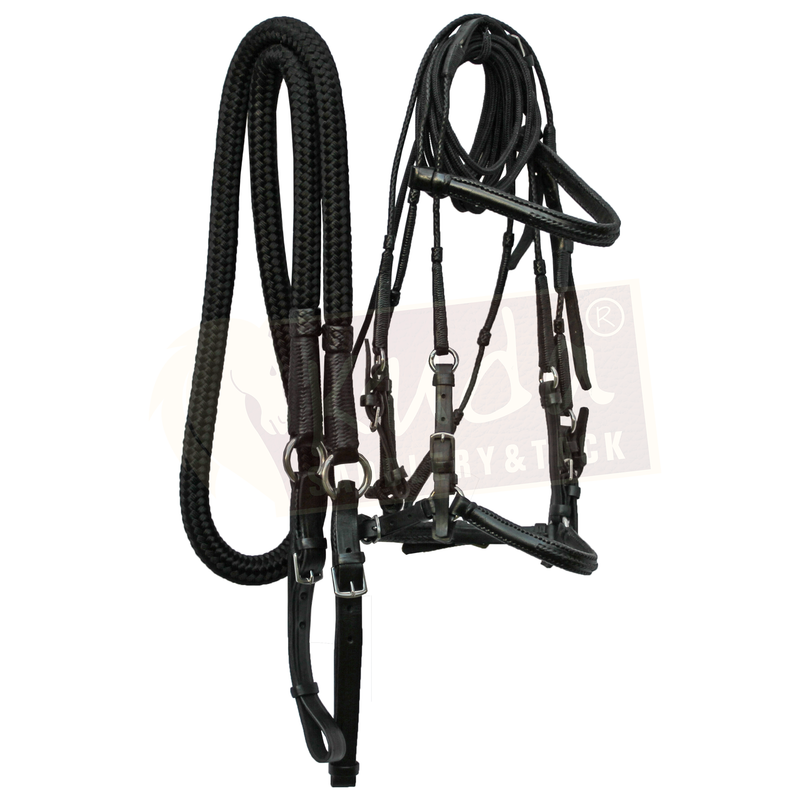Black Bridle with Braided Details, and Leather End Reins