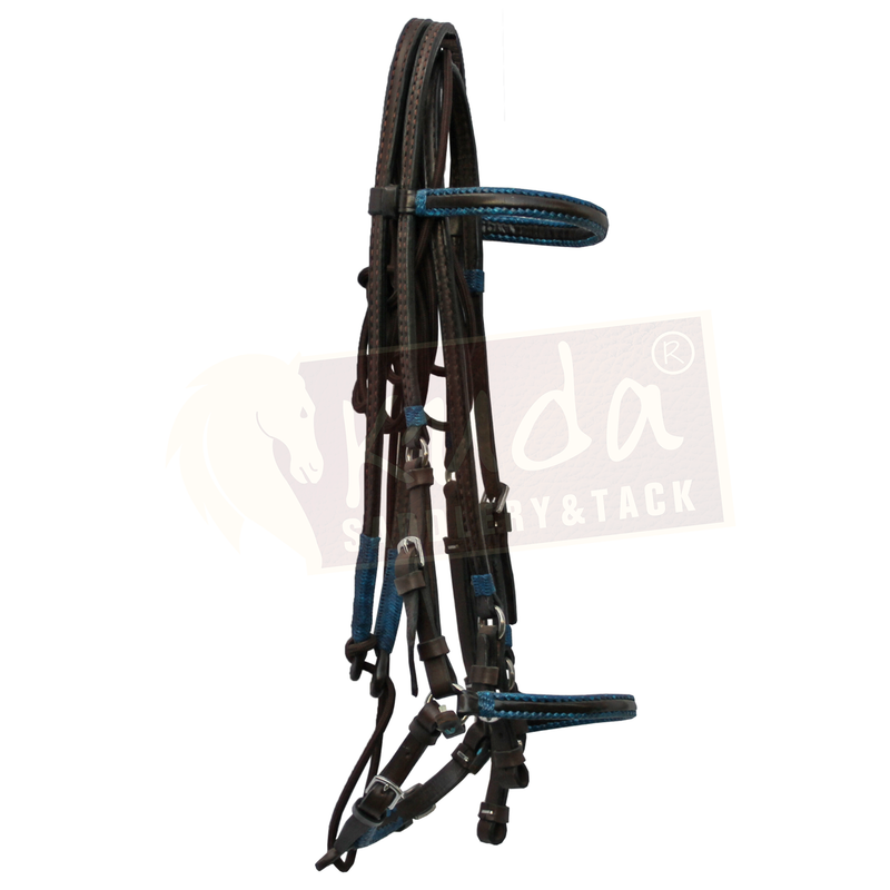 Brown Bridle with Blue Accents