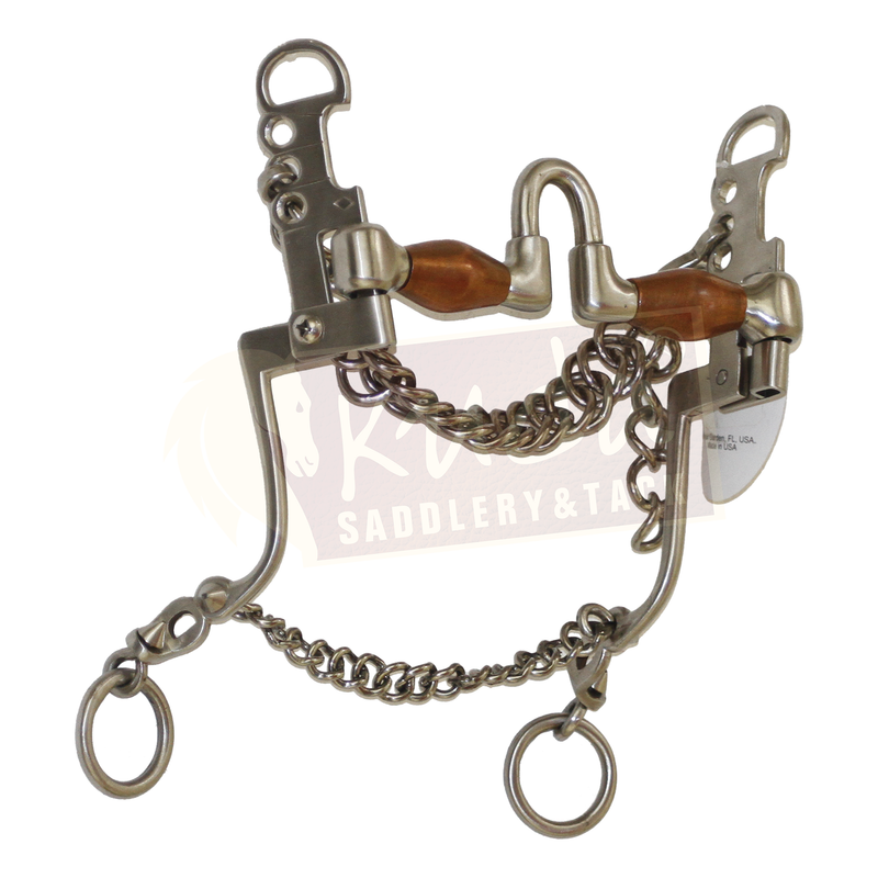 """Chair Leg"" Type Shank Bit with Interchangeable ""U"" Mouthpiece and Copper Rollers"