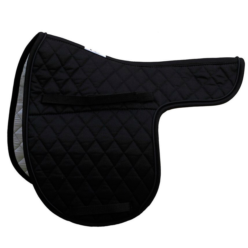 Quilted English Saddle Pad - Black  Piping
