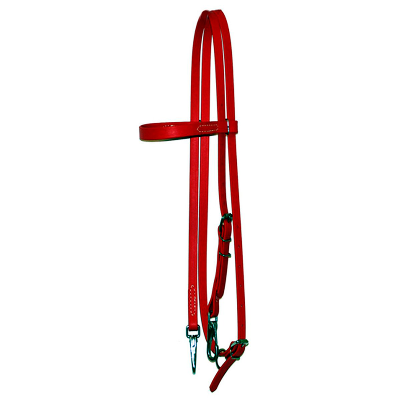 Red Biothane Headstall with S.S. Snaps