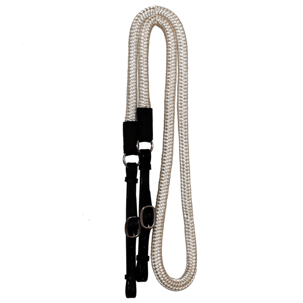 "White 3/4"" Double Braided Nylon Reins with Leather Ends"