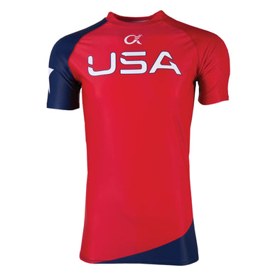 Red, white and blue compression t-shirt with USA on front.
