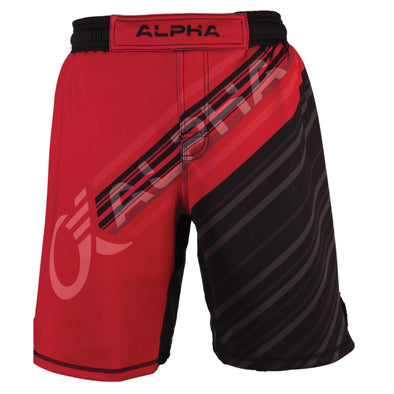 Front of red and black fighter shorts used for wrestling, diagonal lines with ALPHA written across front.
