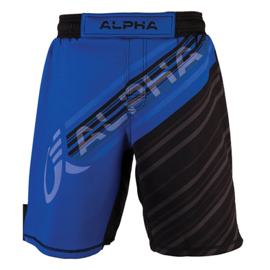 Front of blue and black fighter shorts used for wrestling, diagonal lines with ALPHA written across front.