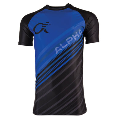 Blue and black compression t-shirt with diagonal stripes and ALPHA logo text.