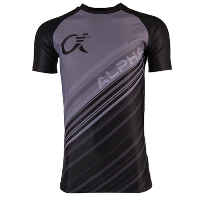 Front of grey and black compression t-shirt with diagonal stripes and ALPHA logo text.