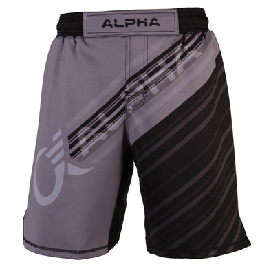 Front of grey and black fighter shorts used for wrestling, diagonal lines with ALPHA written across front.